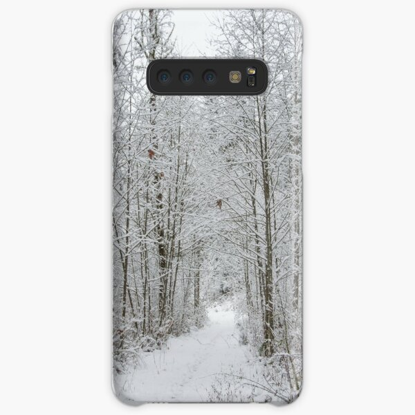 Snow Covered Trees Line The Path Samsung Galaxy Snap Case