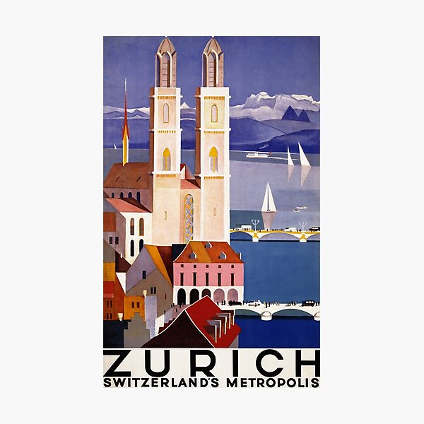 Vintage Travel Poster Zurich Photographic Print