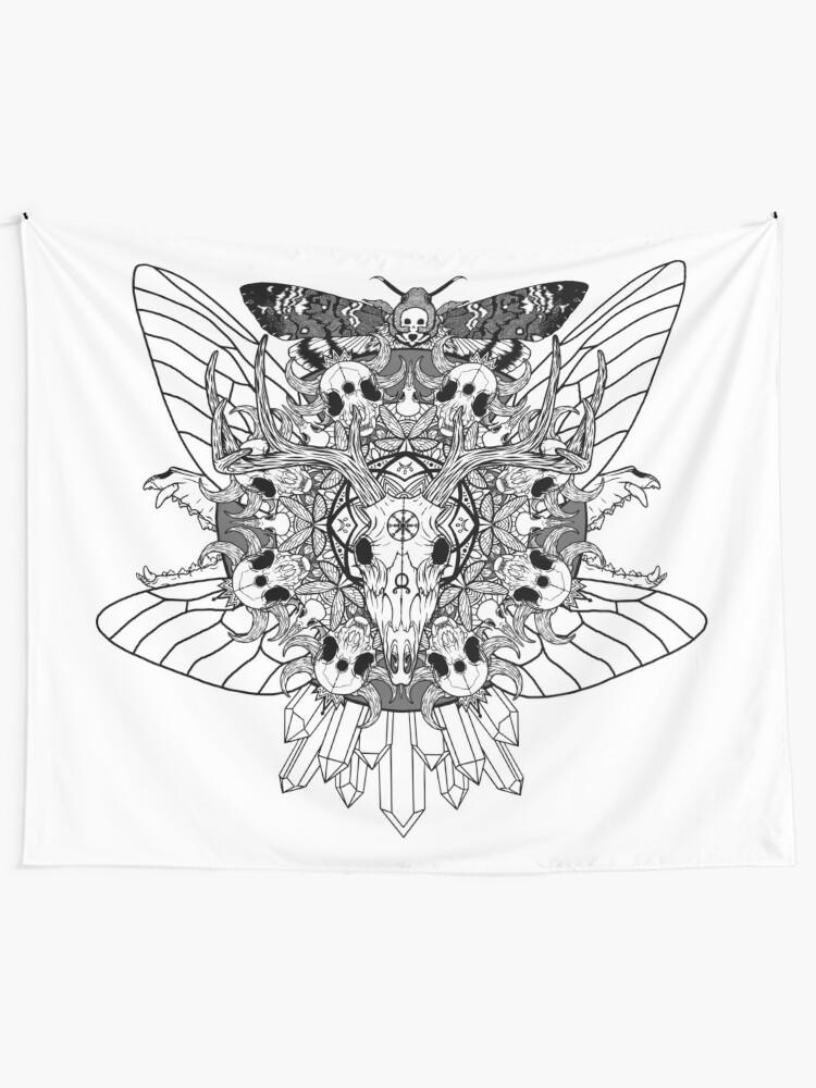 Alternate view of Animal Skull Mandala Tapestry