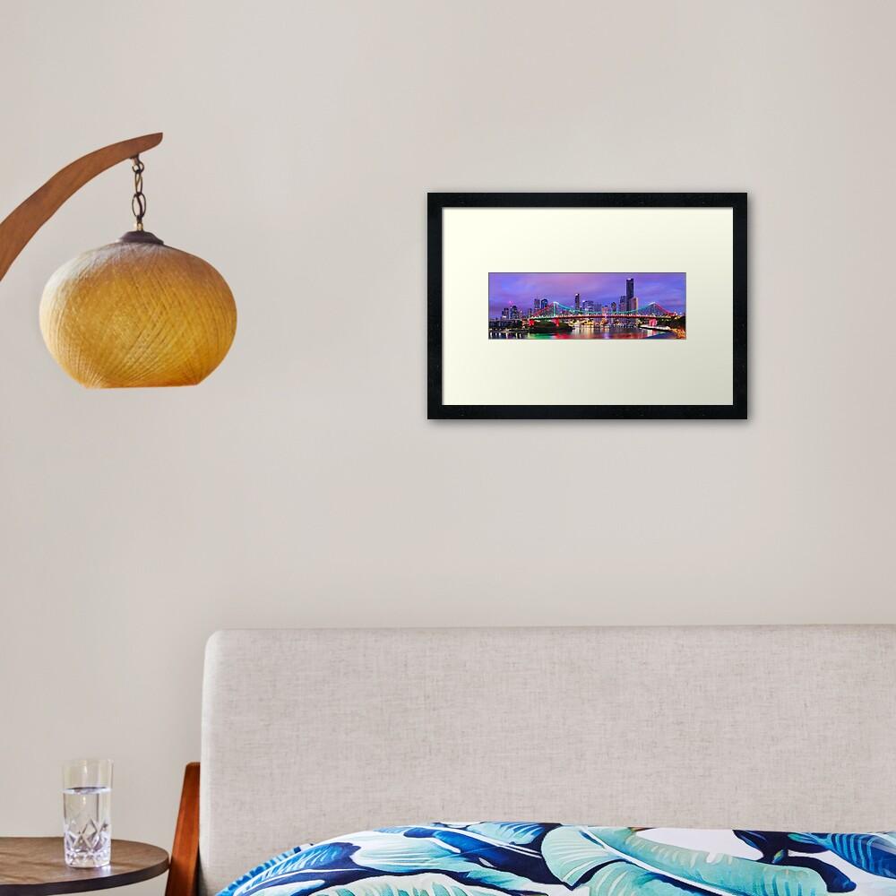 Colourful Story Bridge, Brisbane, Queensland, Australia Framed Art Print
