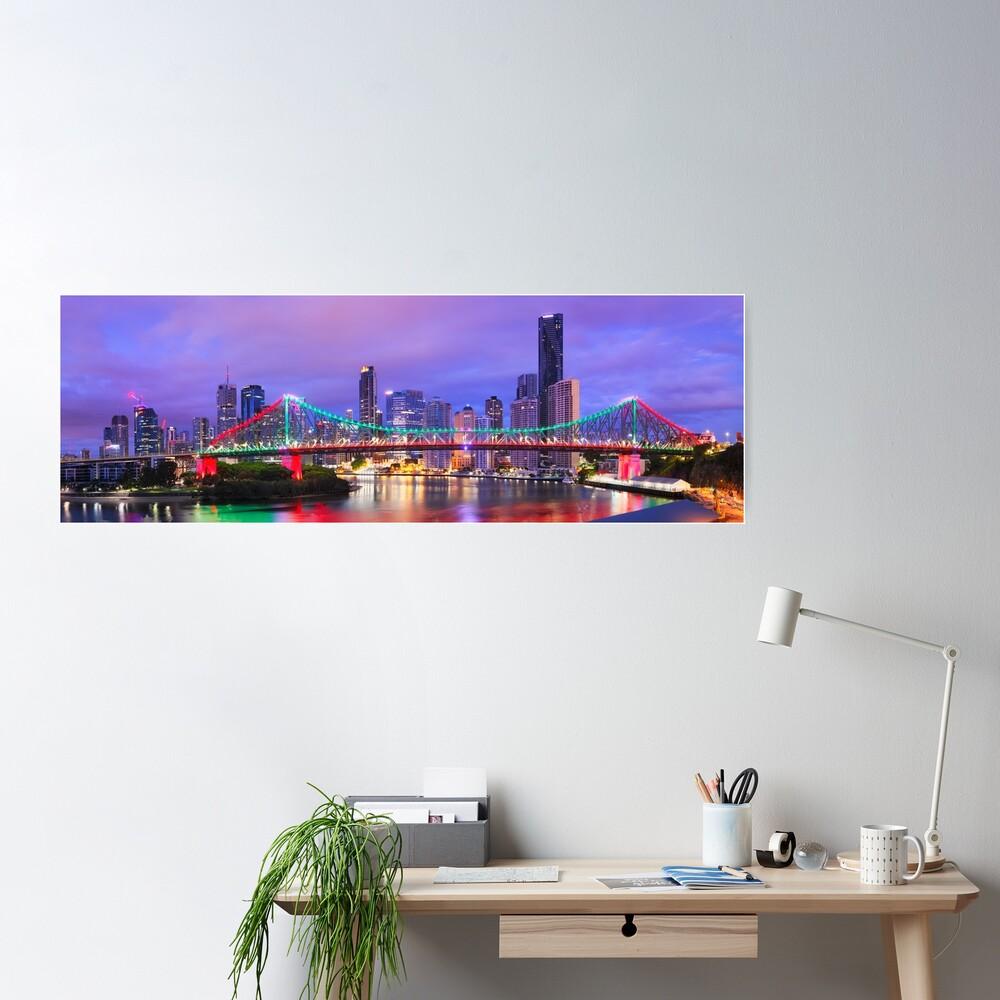 Colourful Story Bridge, Brisbane, Queensland, Australia Poster