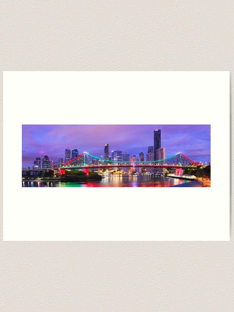 Alternate view of Colourful Story Bridge, Brisbane, Queensland, Australia Art Print