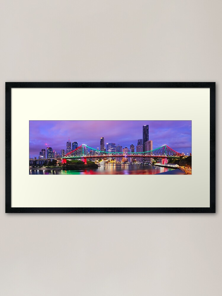 Alternate view of Colourful Story Bridge, Brisbane, Queensland, Australia Framed Art Print