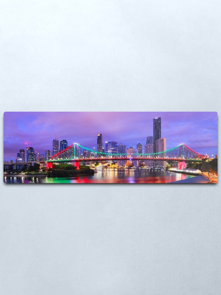 Alternate view of Colourful Story Bridge, Brisbane, Queensland, Australia Metal Print