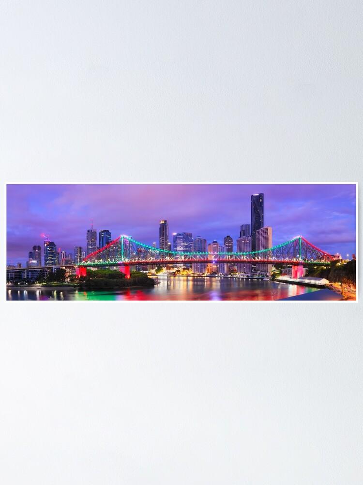 Alternate view of Colourful Story Bridge, Brisbane, Queensland, Australia Poster
