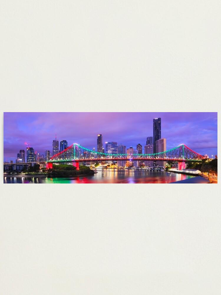Alternate view of Colourful Story Bridge, Brisbane, Queensland, Australia Photographic Print