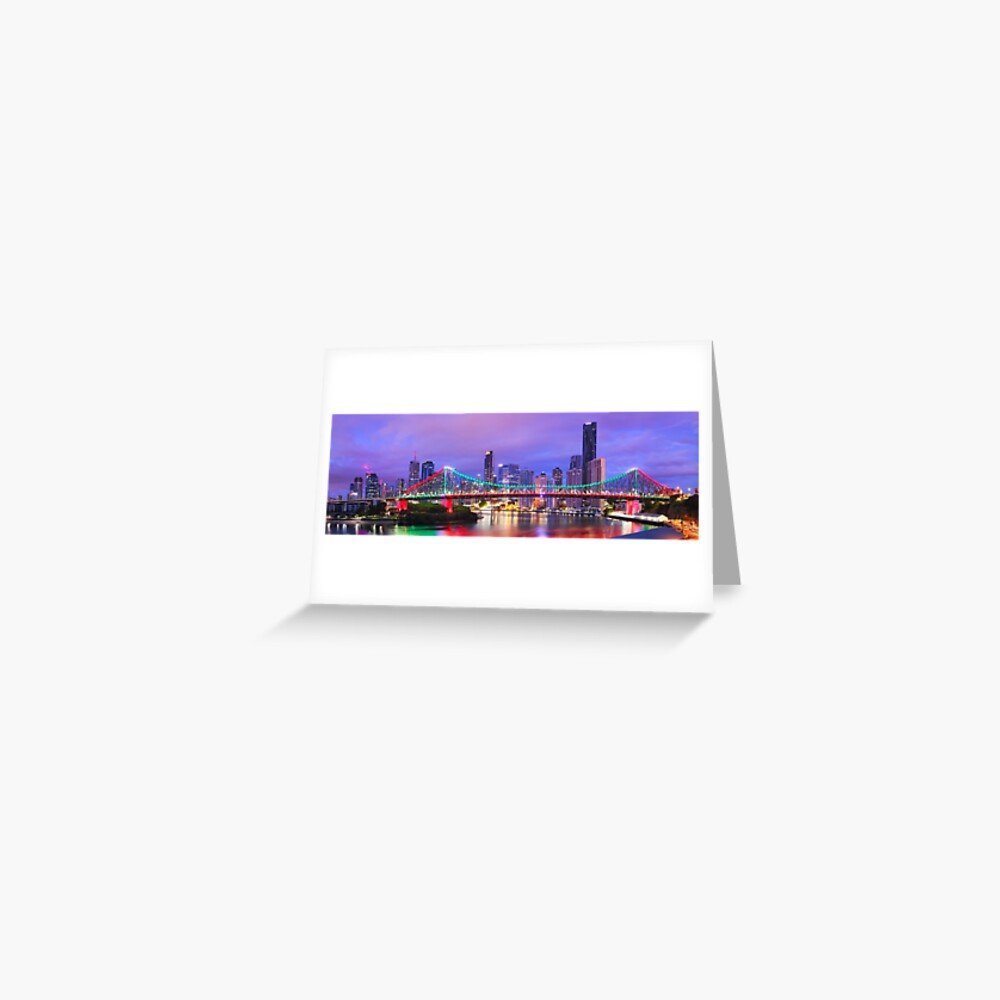 Colourful Story Bridge, Brisbane, Queensland, Australia Greeting Card