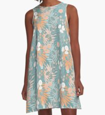 Green Pastel Floral A-Line Dress