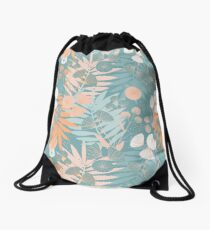 Green Pastel Floral Drawstring Bag