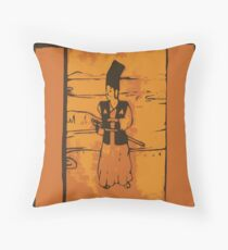 Samurai Wood Block Print Throw Pillow