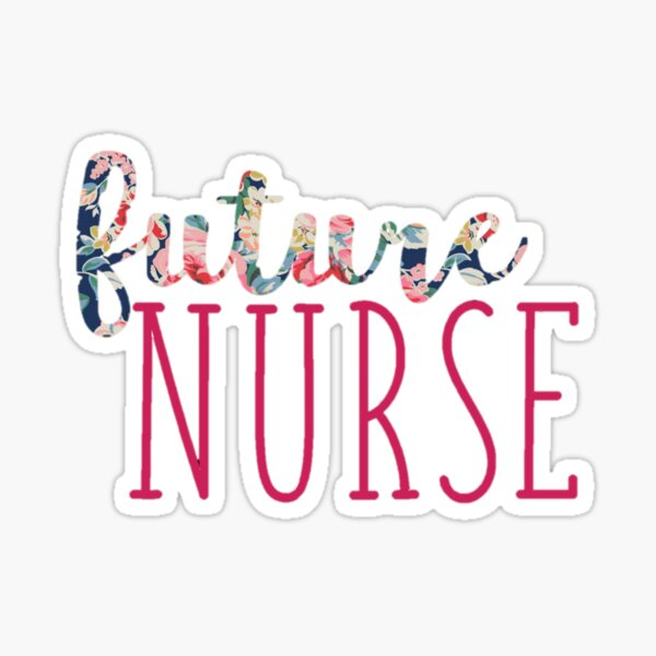 Navy Floral with Pink Future Nurse  Sticker