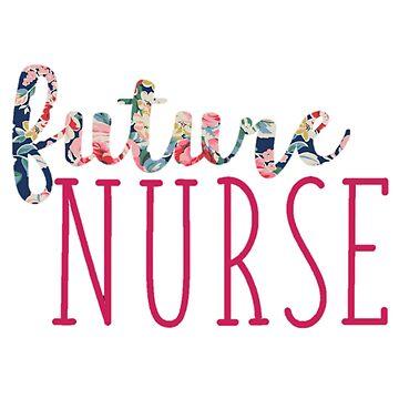 Azul marino floral con enfermera futura rosa de annmariestowe