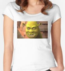 creepy shrek Women's Fitted Scoop T-Shirt