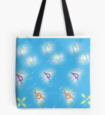Musical notes on light blue background Tote Bag
