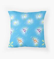 Musical notes on light blue background Throw Pillow
