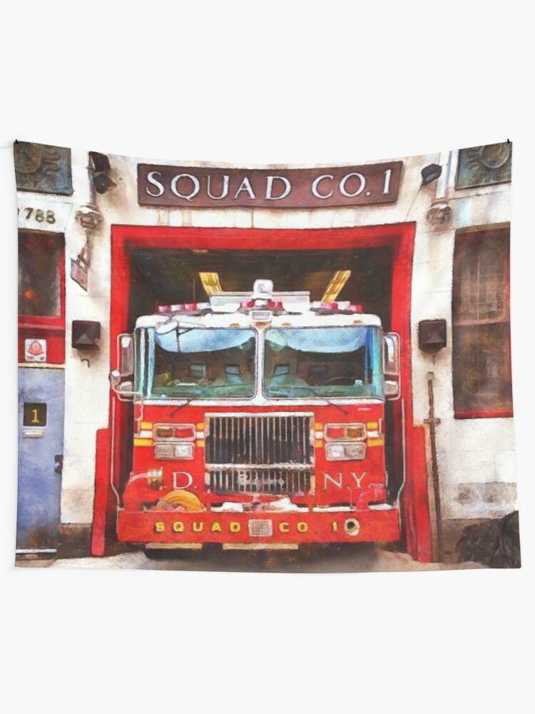 Fire Fighter Fireman Decor Firehouse Squad 1 Watercolor Acrlyic
