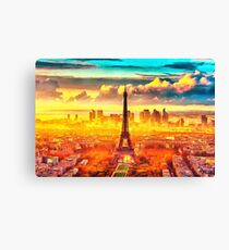 France effiel tower sunset painting oil acrylic water europe city french paris capitol art home decor wall clock iphone case ipad case Canvas Print