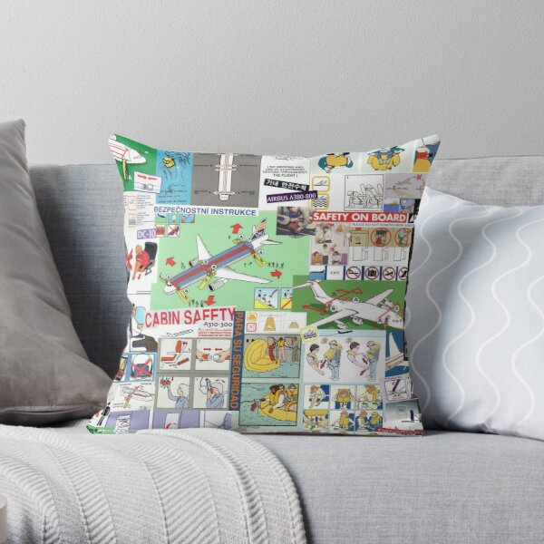 For Your Safety - Collage Throw Pillow