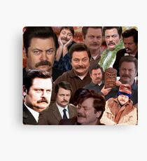 Ron Swanson Collage  Canvas Print