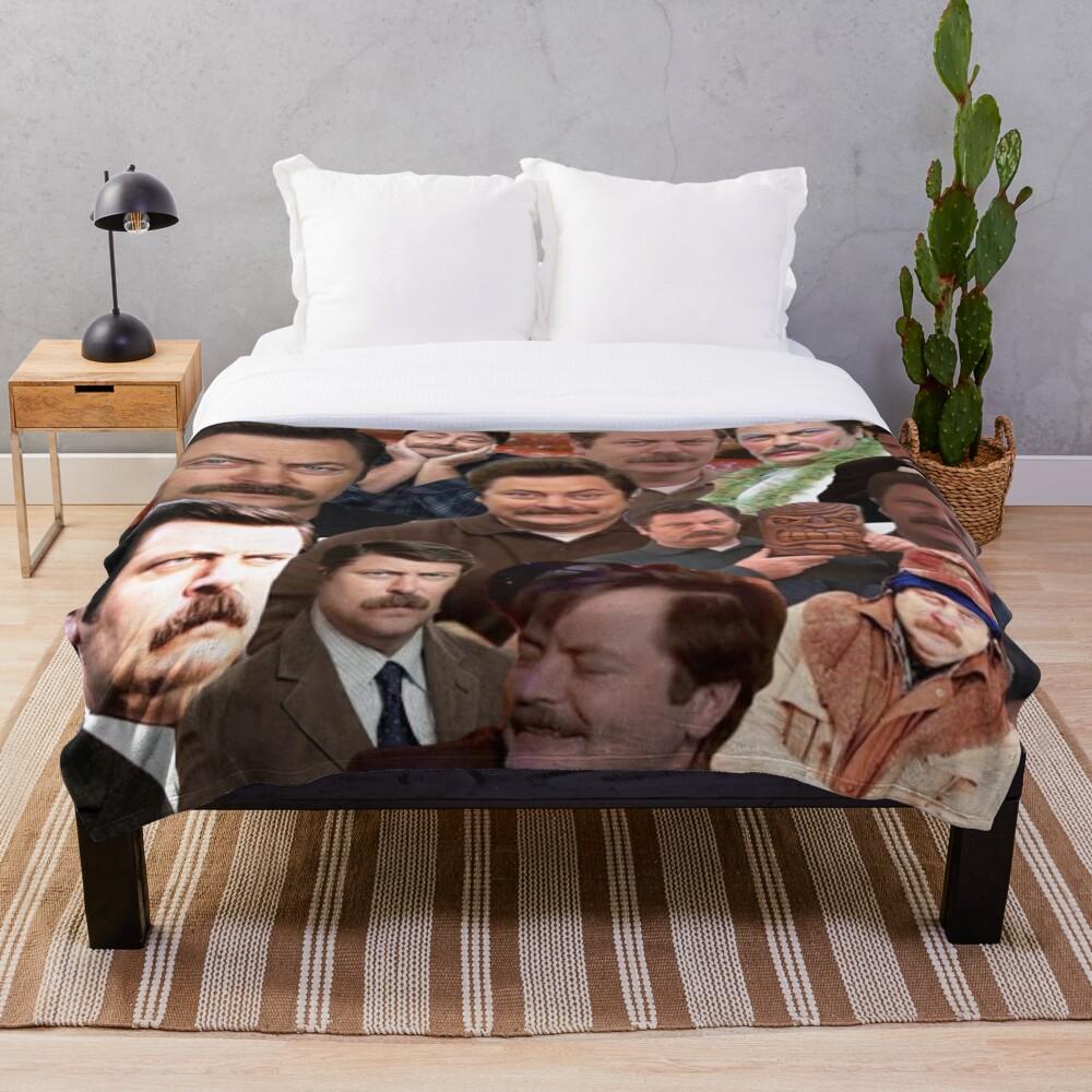 Ron Swanson Collage  Throw Blanket