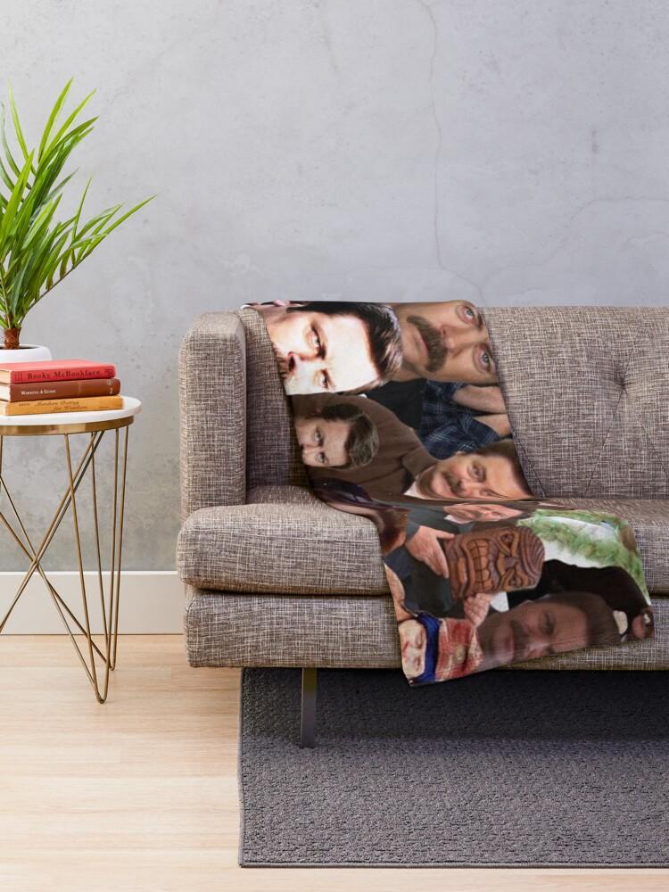 Alternate view of Ron Swanson Collage  Throw Blanket