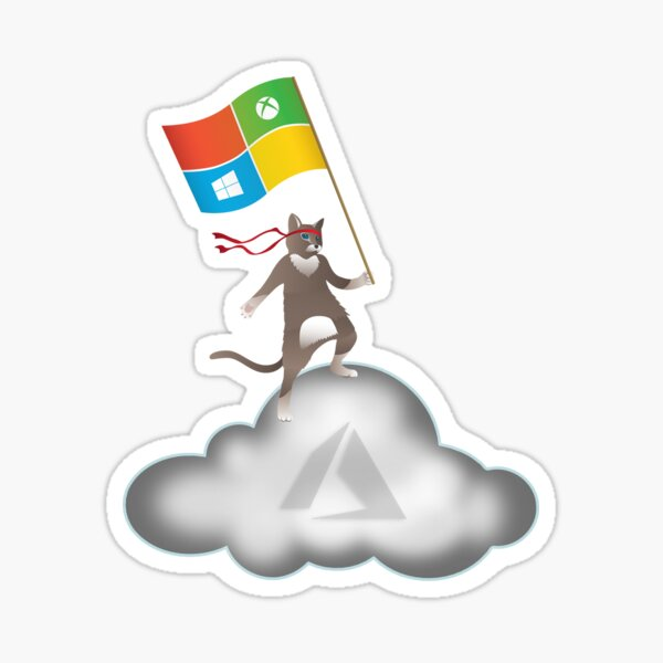 Azure Ninja Cat Cloud Sticker