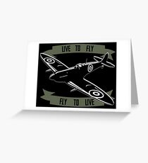 Airplane - Live to Fly - for dark backgrounds Greeting Card