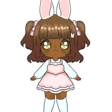 Easter Bunny Chibi Girl (Dark Skin Tone) by NicholiCosplay