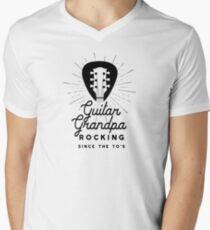 Rock And Roll Grandpa 70s Guitar Headstock Logo Men's V-Neck T-Shirt