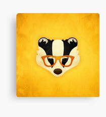 Hipster Badger: Gold Canvas Print