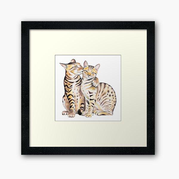 Bengal Cats Watercolor Ink Art Framed Art Print