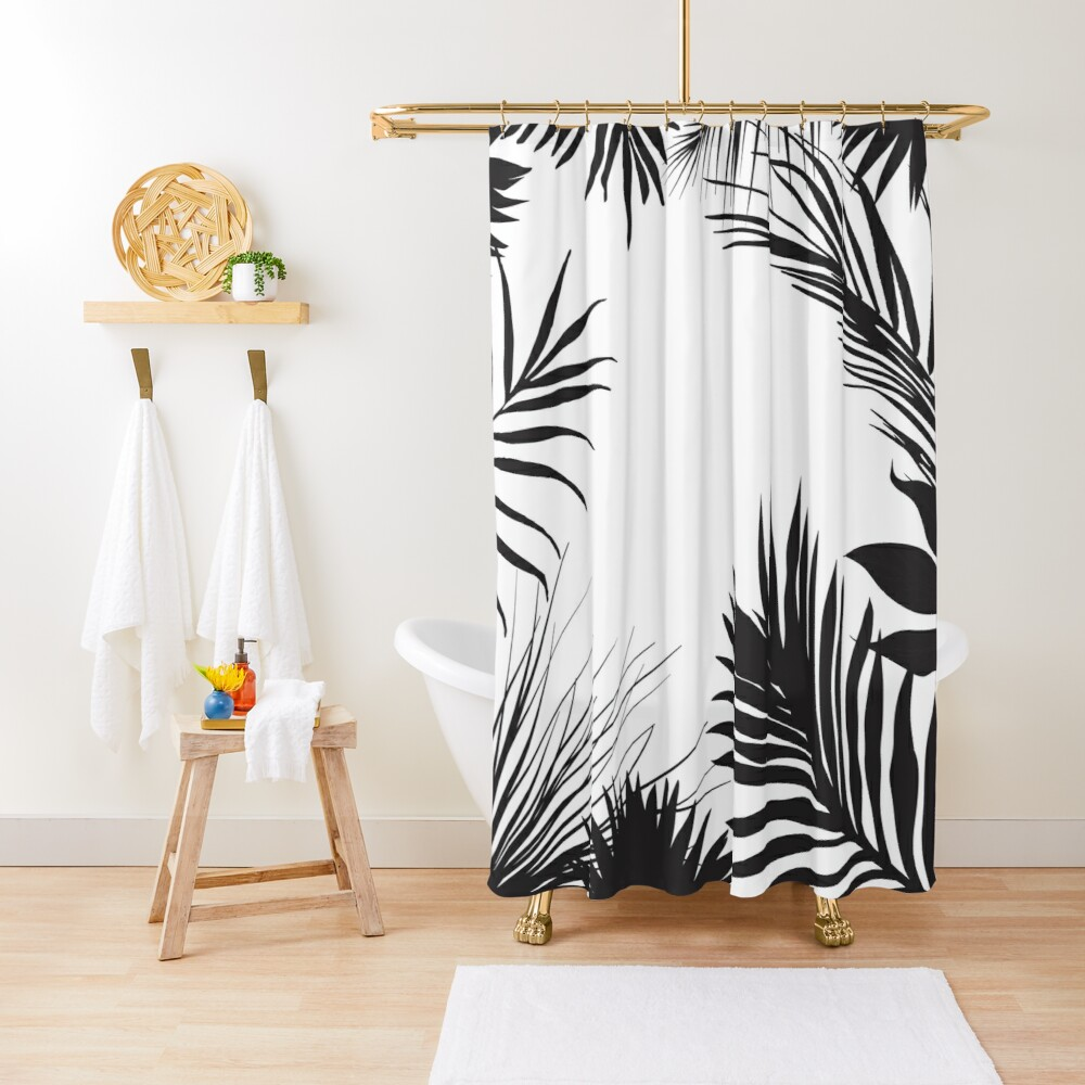 Palm Leaves In Black And White Shower Curtain