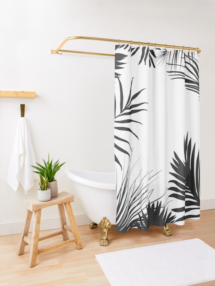 Alternate view of Palm Leaves In Black And White Shower Curtain