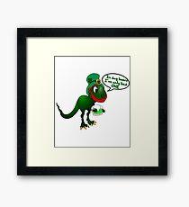 St Patricks Tag Dino witziges Shirt Framed Print