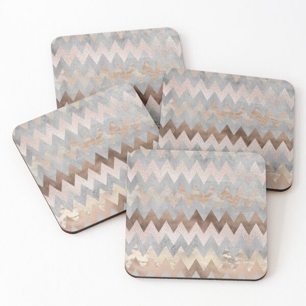 Copper and Blush Rose Gold Marble Chevron Pattern Coasters (Set of 4)