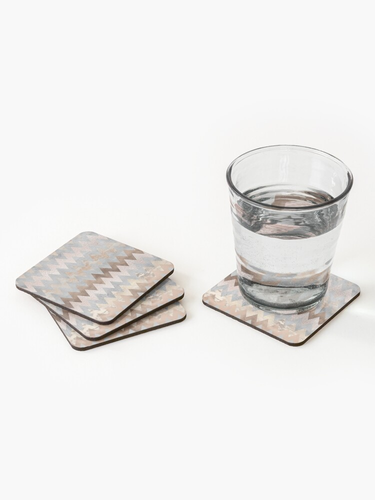 Alternate view of Copper and Blush Rose Gold Marble Chevron Pattern Coasters (Set of 4)