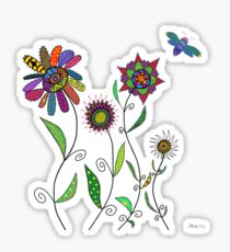 flowers and bees on white Sticker