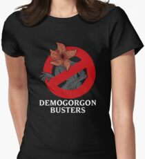 Demogorgon Busters (White Text) Women's Fitted T-Shirt