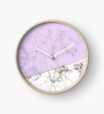 Marble Gold Lilac Luxury Print Design Clock