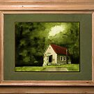 """Country Church, version 1"" ... with a rice paper impression, in a matted and framed presentation, for prints and products by Bob Hall©"