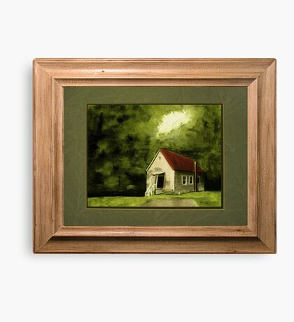 """""""Country Church, version 1"""" ... with a rice paper impression, in a matted and framed presentation, for prints and products Canvas Print"""