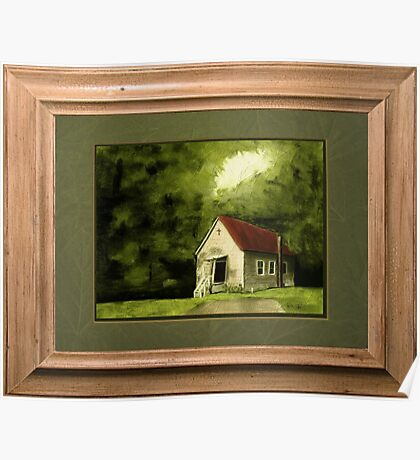 """""""Country Church, version 1"""" ... with a rice paper impression, in a matted and framed presentation, for prints and products Poster"""