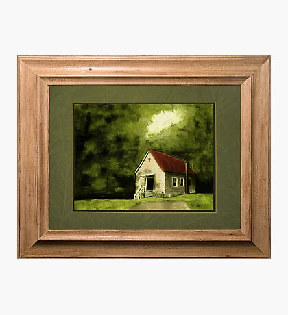 """""""Country Church, version 1"""" ... with a rice paper impression, in a matted and framed presentation, for prints and products Photographic Print"""