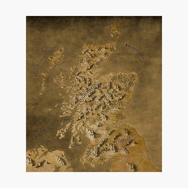 Map of Scotland Photographic Print