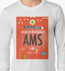 AMS Amsterdam airport tag Long Sleeve T-Shirt