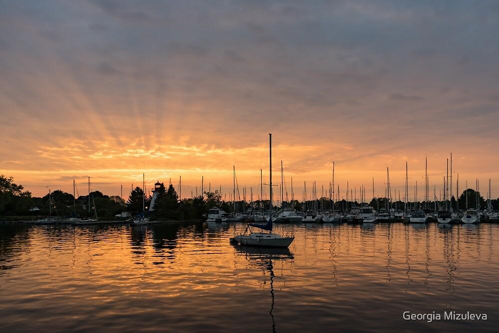 Silky Sunrays Sailboat - a Gorgeous Sunrise at a Marina by Georgia Mizuleva