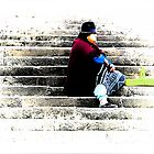 Waiting Patiently On The Stairs by Al Bourassa