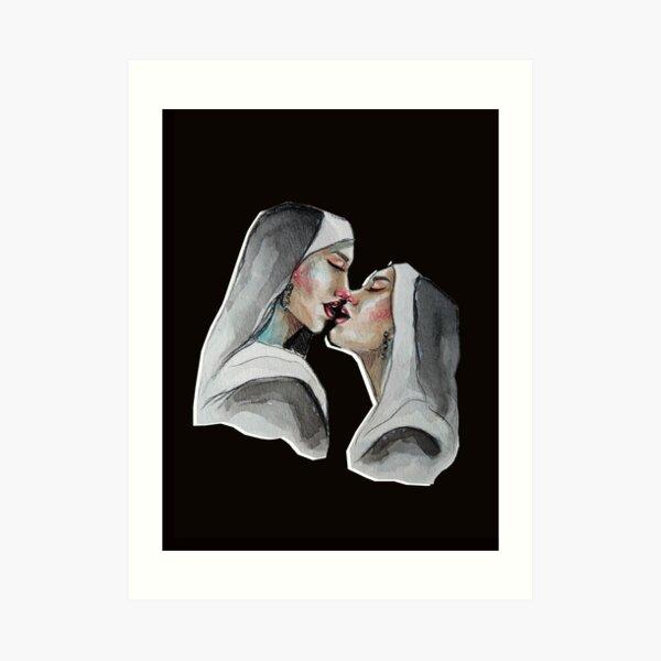 lesbian kiss Art Print