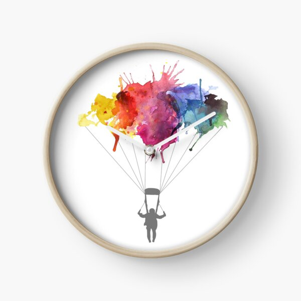 Skydiving, Skydiver parachute, parachuting. Watercolor Illustration Clock