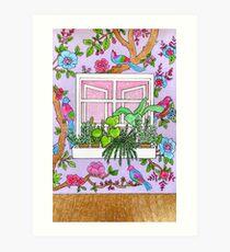 Window scene with floral wallpaper Art Print
